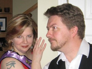 This is a shot of me and my handsome husband goofing around at my 40th birthday party a couple of years ago. That's what my tattoo looks like.