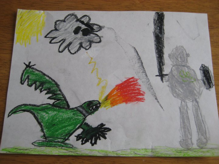 My boys drew this for me a few years ago when I was reading Pressfield's 'Do the Work' and asked them for a drawing of me slaying a resistance dragon.  It seemed to go with this post, too.