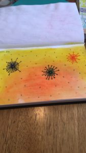 A notebook page with a yellow and orange background and three starburst shapes on it, one orange, one blue and one green. There are small circles of each colour on the sheet.