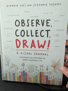 A light blue book with the title 'Observe, Collect, Draw! A visual journal' on the cover in a font that looks hand printed. There are coloured drawing pencils depicted at the bottom and various symbols and shapes all over the front cover.