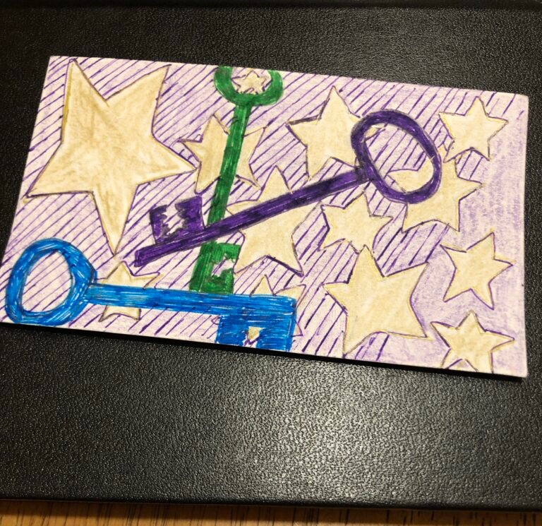 A drawing of three old fashioned keys and a bunch of gold stars.