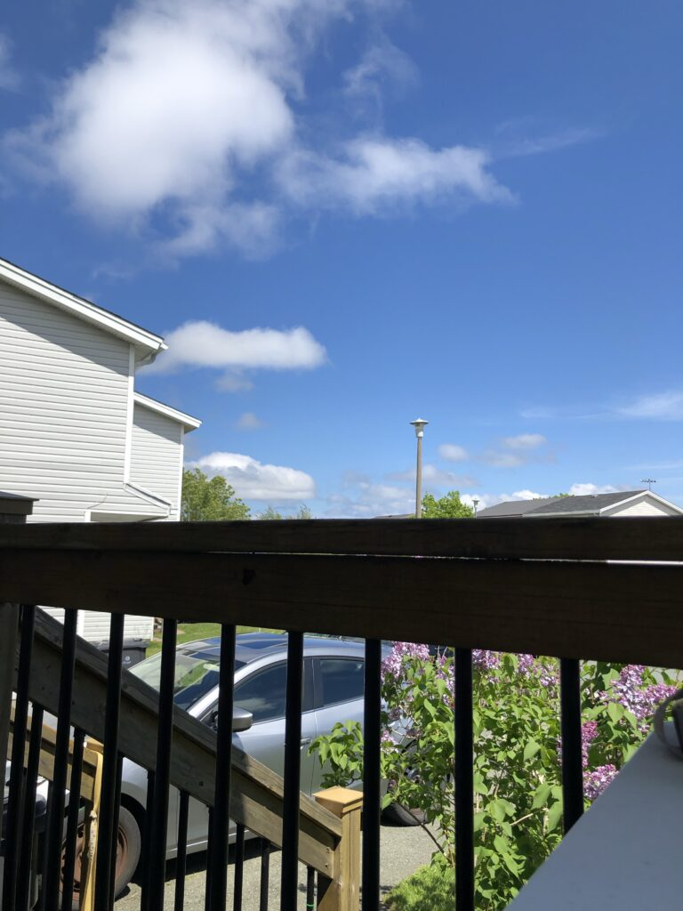 A view of a suburban neighbourhood and the sky, seen though a patio railing.