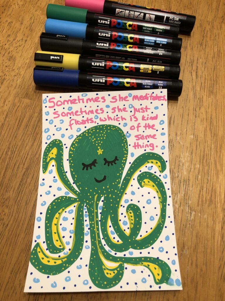 A drawing of a green octopus with small yellow dots.